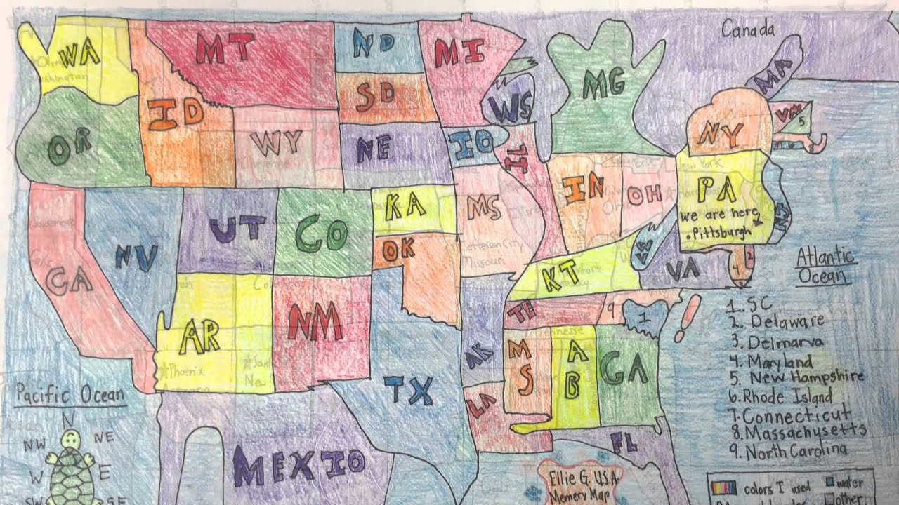 Ellis 4th grade draws maps of the USA by hand