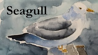 How to Draw and Paint a Seagull in Watercolour Watercolor Bird Seascape Tutorial