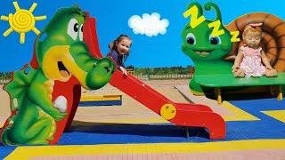Counting nursery rhyme song for kids Funny kid and funny doll on the outdoor playground