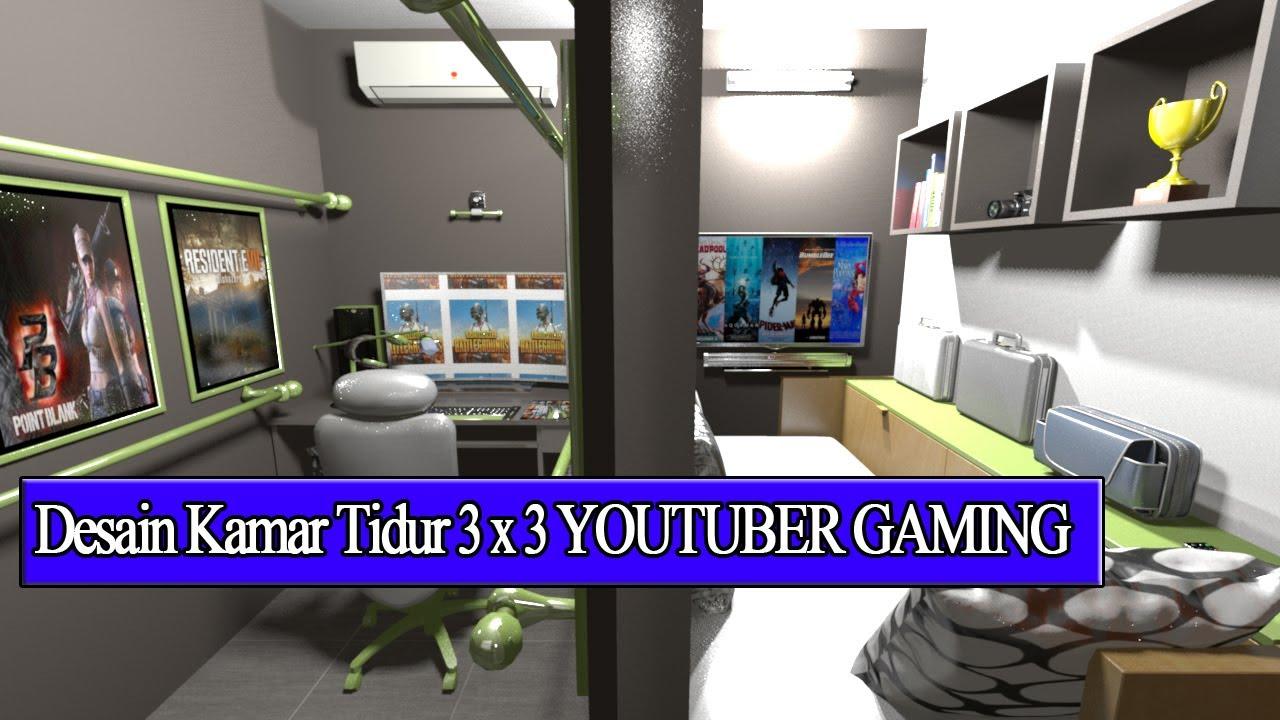 DESAIN KAMAR TIDUR 3X3 SEMI YOUTUBER GAMING - YouTube