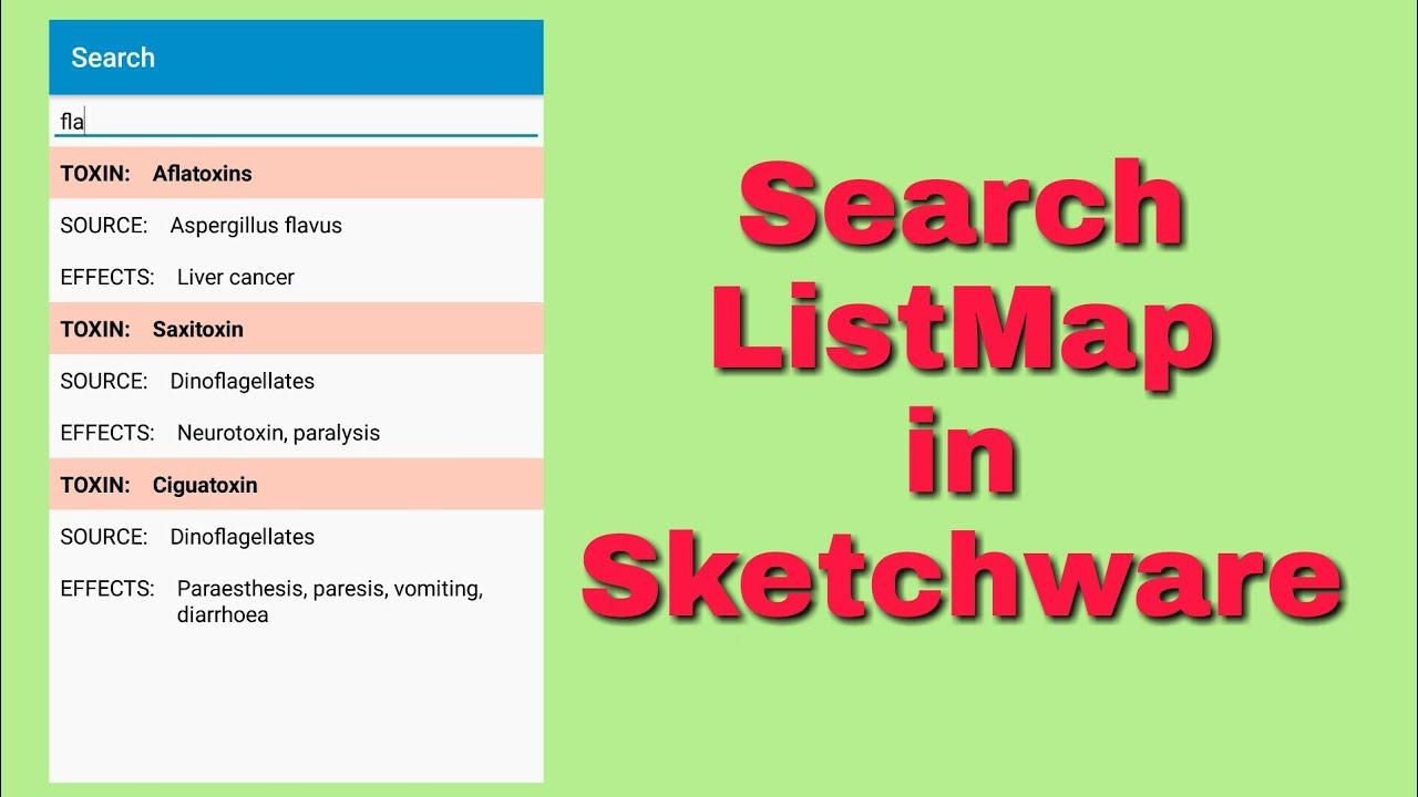 Search a Map List in Sketchware on flag list, print list, queue list, shop list, food list, mexico states and capitals list, city list, faq list,