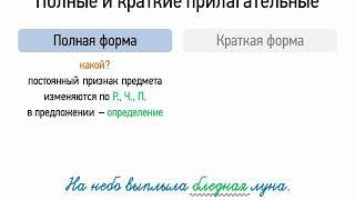 Полные и краткие прилагательные (6 класс, видеоурок-презентация)