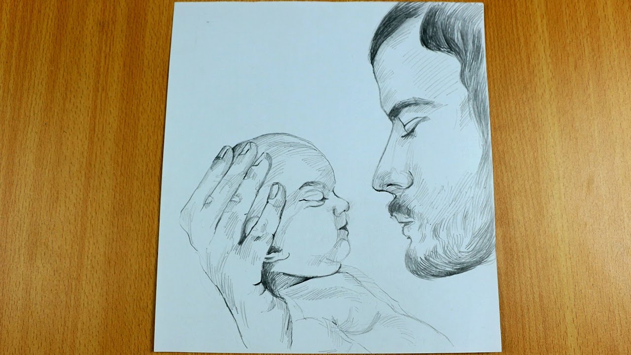 Father and Son Drawing step by step - How to draw Father and Son Sketch -  YouTube