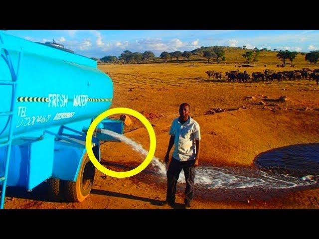 Он часами везет 12 000 л. воды, чтобы вылить её на землю, но стоит ему отрыть кран… Невероятно!