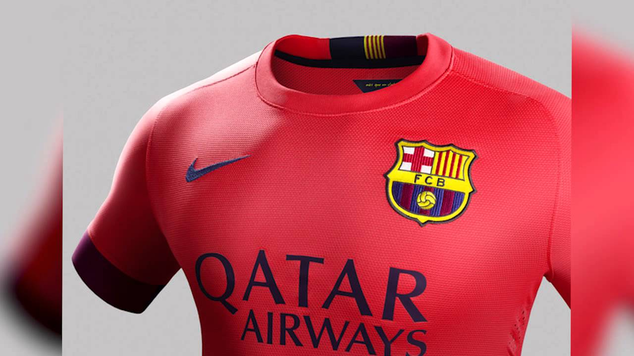 Le maillot ext rieur du fc barcelone 2014 2015 youtube for Maillot exterieur barcelone 2014