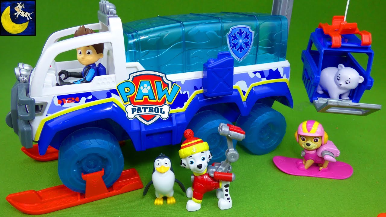 paw patrol toys the great snow rescue arctic terrain vehicle winter snowboard pups christmas
