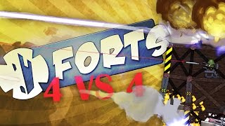 GIANT BATTLE 4 VS 4 - Forts Multiplayer Gameplay (Forts Game / Forts Gameplay)