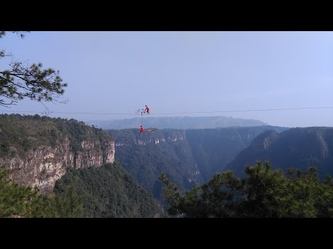 Ride from Guangzhou to Ruyuan, China on a Honda CB-1/CB600. Crazy high-wire bicycle act....