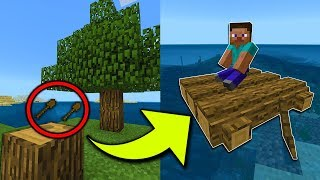 How To Make a WOODEN RAFT in Minecraft Pocket Edition
