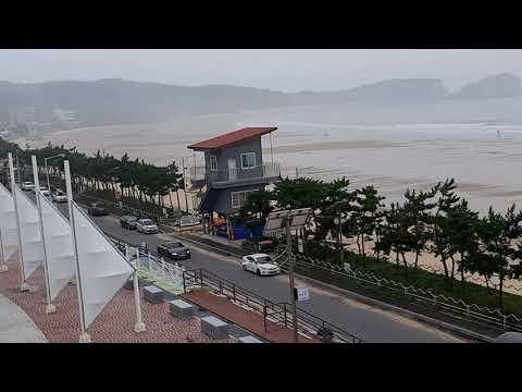 만리포 해수욕장 희망공원 전망대에서 보는 해변과 서핑 surfing 모습