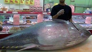 Япония Морепродукты - Шоу Разделка Тунца Молодым Мастером Наоки Шинья,Осака Япония