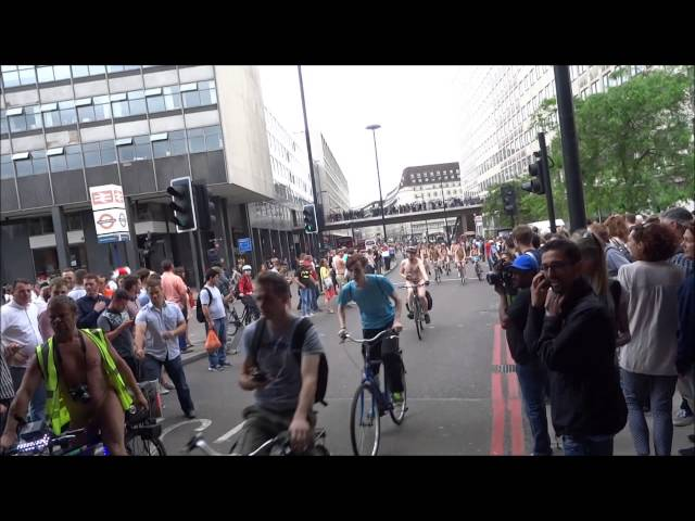 (1080 HD) London World Naked Bike Ride (WNBR) Passing Waterloo Station - 14th June 2014 (Part Two)