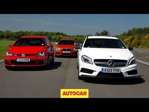 Mercedes A45 AMG vs Volkswagen Golf GTI vs BMW M135i - hot hatch mega test - autocar.co.uk