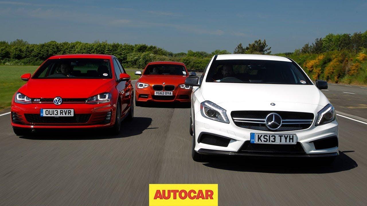 Mercedes a45 amg vs volkswagen golf gti vs bmw m135i hot for Mercedes benz volkswagen