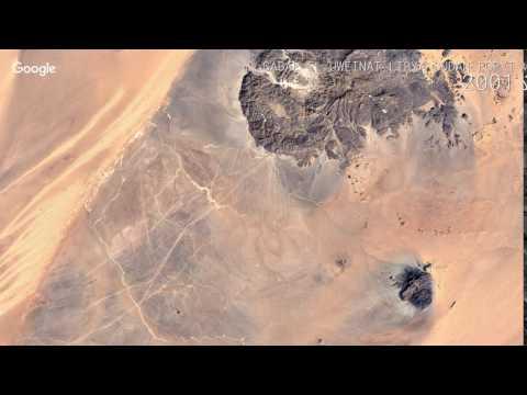 Google Timelapse: Gabal El Uweinat, Libya Sudan Egpyt