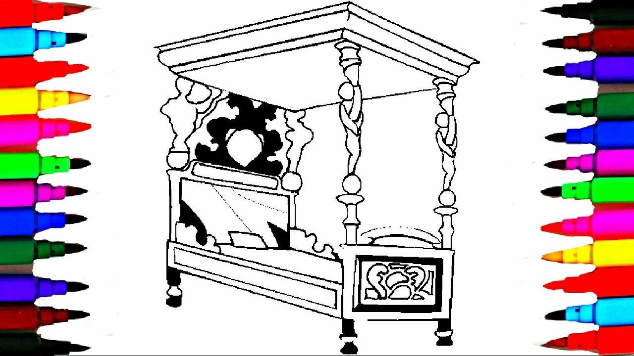 coloring pages bed for girls coloring books l queen bed drawing