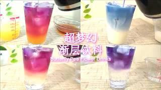 DIY超梦幻渐层蝶豆花饮料 Butterfly Pea Flower Drinks