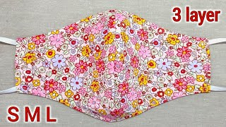 All Sizes 3 layer 2 in 1 Easy Pattern Mask Face Mask Sewing Tutorial DIY Breathable Mask
