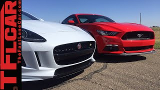 2015 Mustang GT vs 2016 Jaguar F-Type R Performance Mashup Review & Drag Race