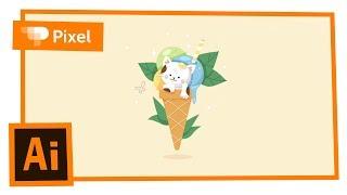 Рисуем котика с мороженым в Adobe Illustrator | уроки для новичков