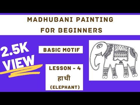 Madhubani Painting Tutorial (How to Draw Elephant) LESSON – 4 #madhubanipainting #linedrawing