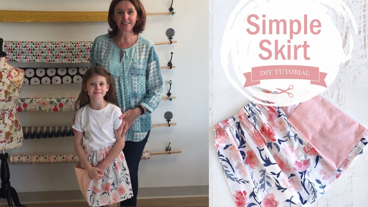 0d5897bb642c Sewing for beginners - How to make a simple skirt with an elastic waistband  - Skirt Sewing
