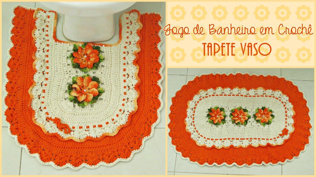 Jogo de Banheiro em Crochê Tapete Vaso  YouTu -> Jogo De Banheiro Simples Em Croche Passo A Passo