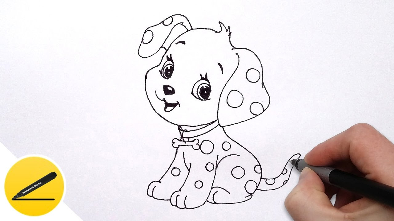 How to Draw a Dog Puppy for Kids Cute Drawing of Animals YouTube