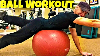 3 Moves for Core Strength on the Exercise Ball - Full Body Stability Ball Workout