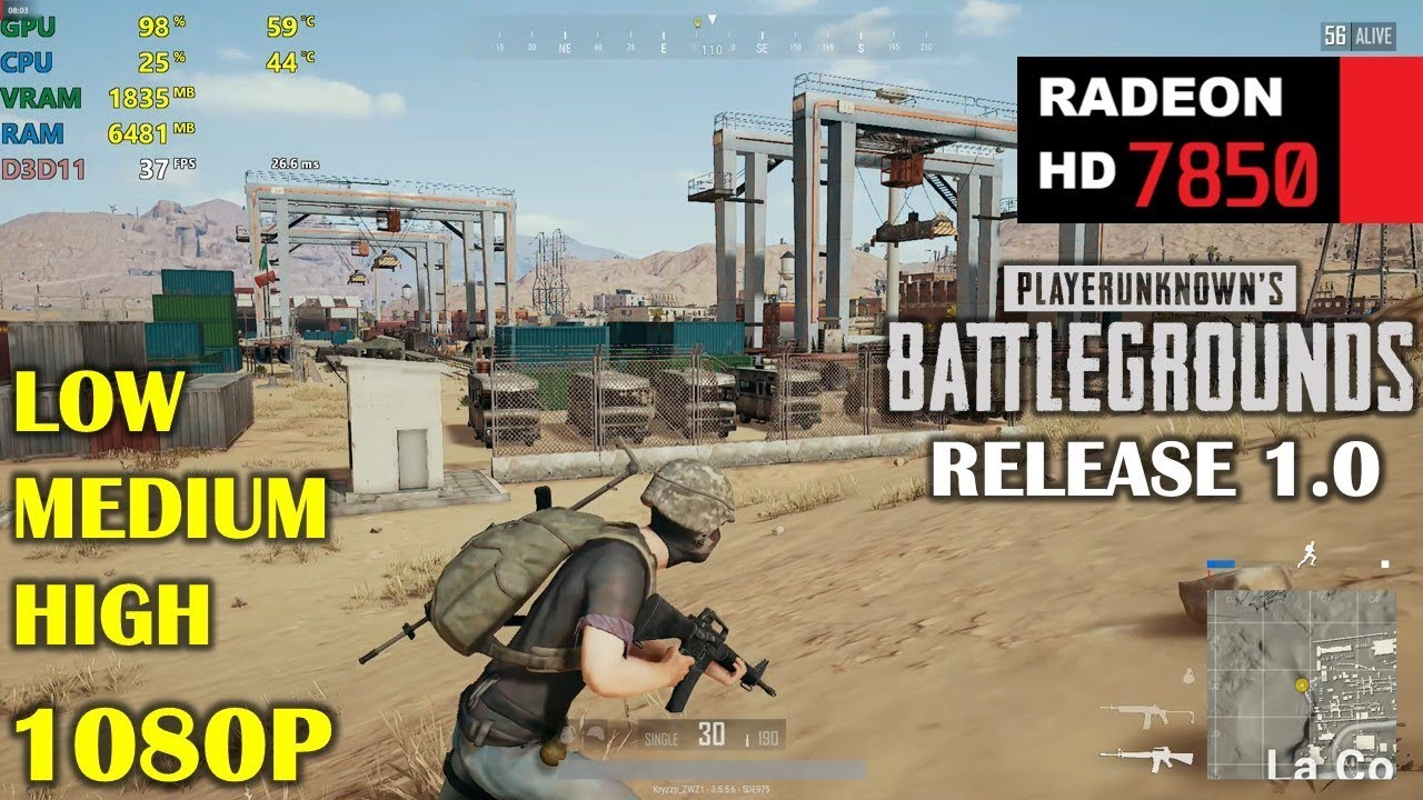 HD 7850 / R7 265 | PUBG 1 0 Release - 1080p Low, Medium and High