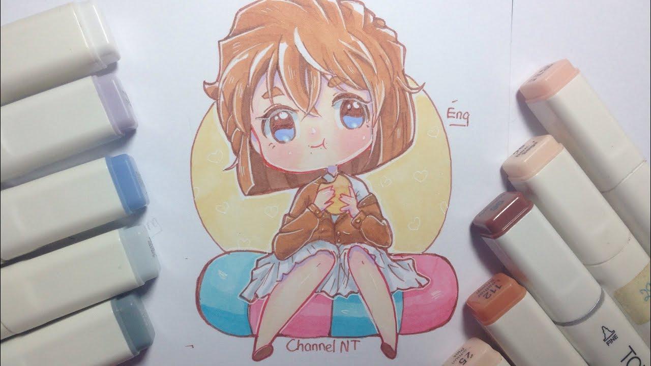 speeedpaint] Vẽ Haibara Ai chibi trong thám tử lừng danh Conan - YouTube