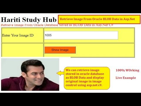 Retrieve Image Stored in Oracle Database as BLOB Data Asp Net C# | Hindi |  Free Online Learning Code