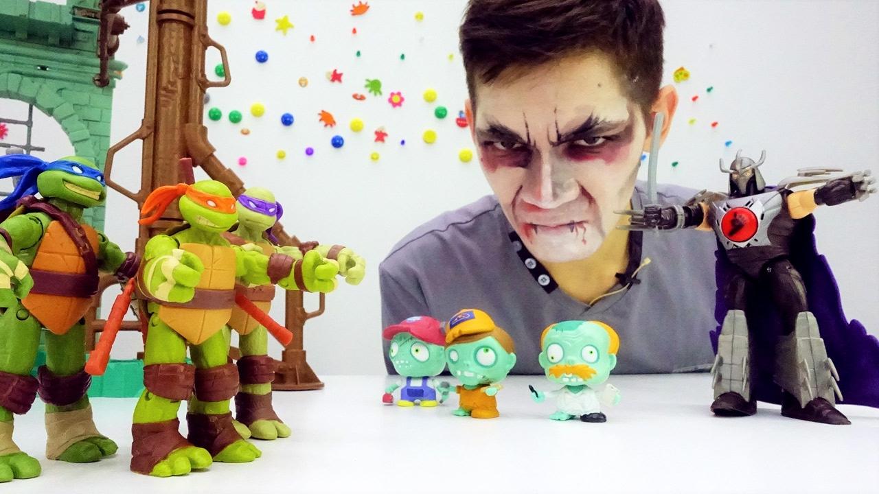 Черепашки Ниндзя: видео с игрушками для детей. Шреддер превратил всех в зомби! Фабрика Героев.