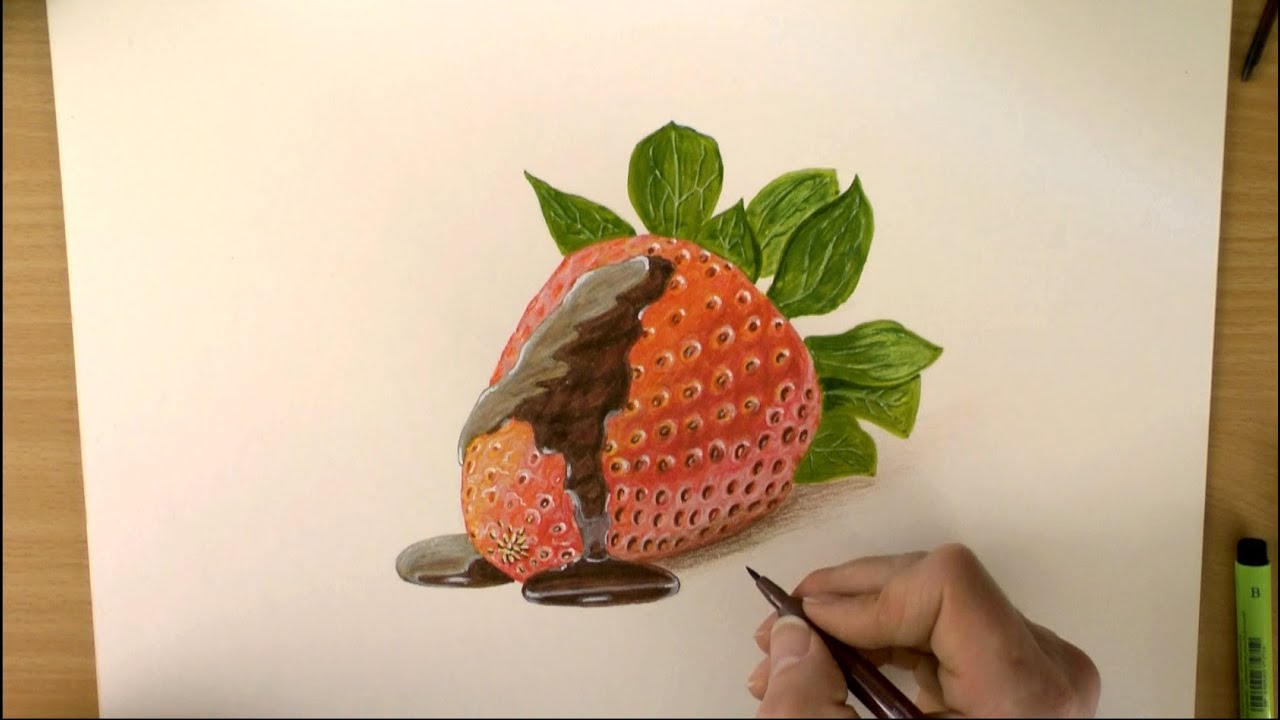 How To Draw A Strawberry With Chocolate Sauce Youtube
