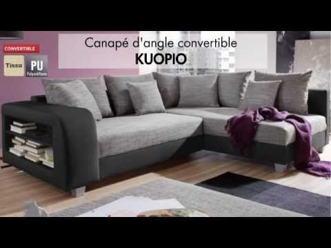 Canap d 39 angle tissu convertible kuopio vente - Canape d angle petit ...