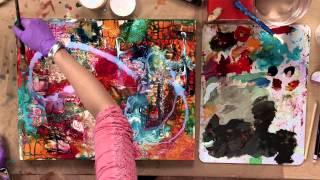 Acrylic Painting: Mixed Media Flowers