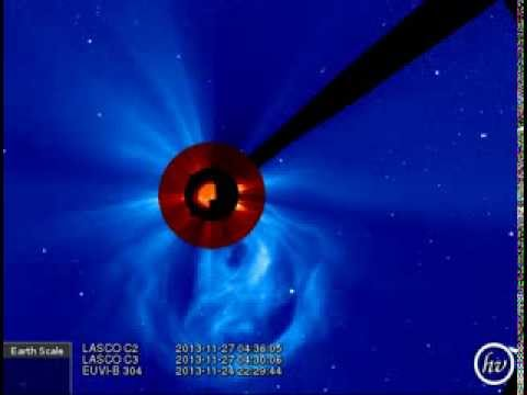 LASCO C2/C3, EUVI-B 304 (2013-11-25 22:00:05 - 2013-11-27 20:48:05 UTC)