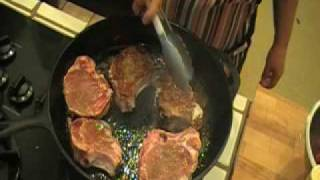 How To Make Pan Seared Pork Chops With Grapes & Red Wine