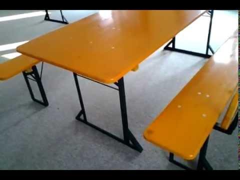 Tavoli E Panche Birreria Usati.Set Panche Tavoli Professionali Youtube