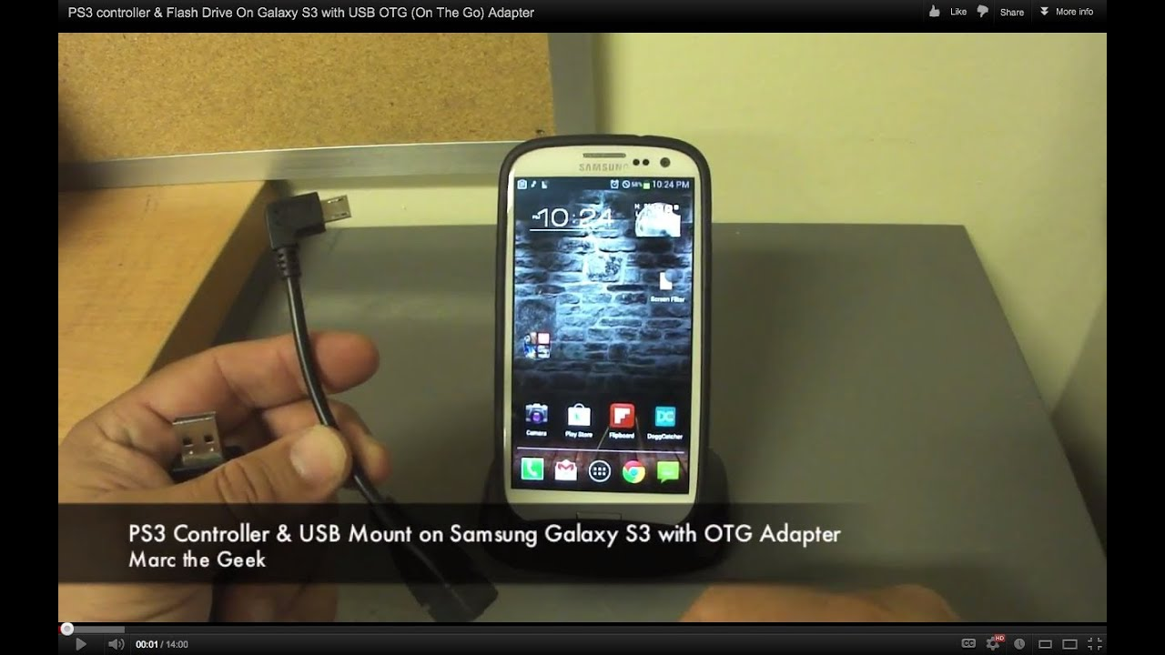 PS3 controller & Flash Drive On Galaxy S3 with USB OTG (On The Go) Adapter