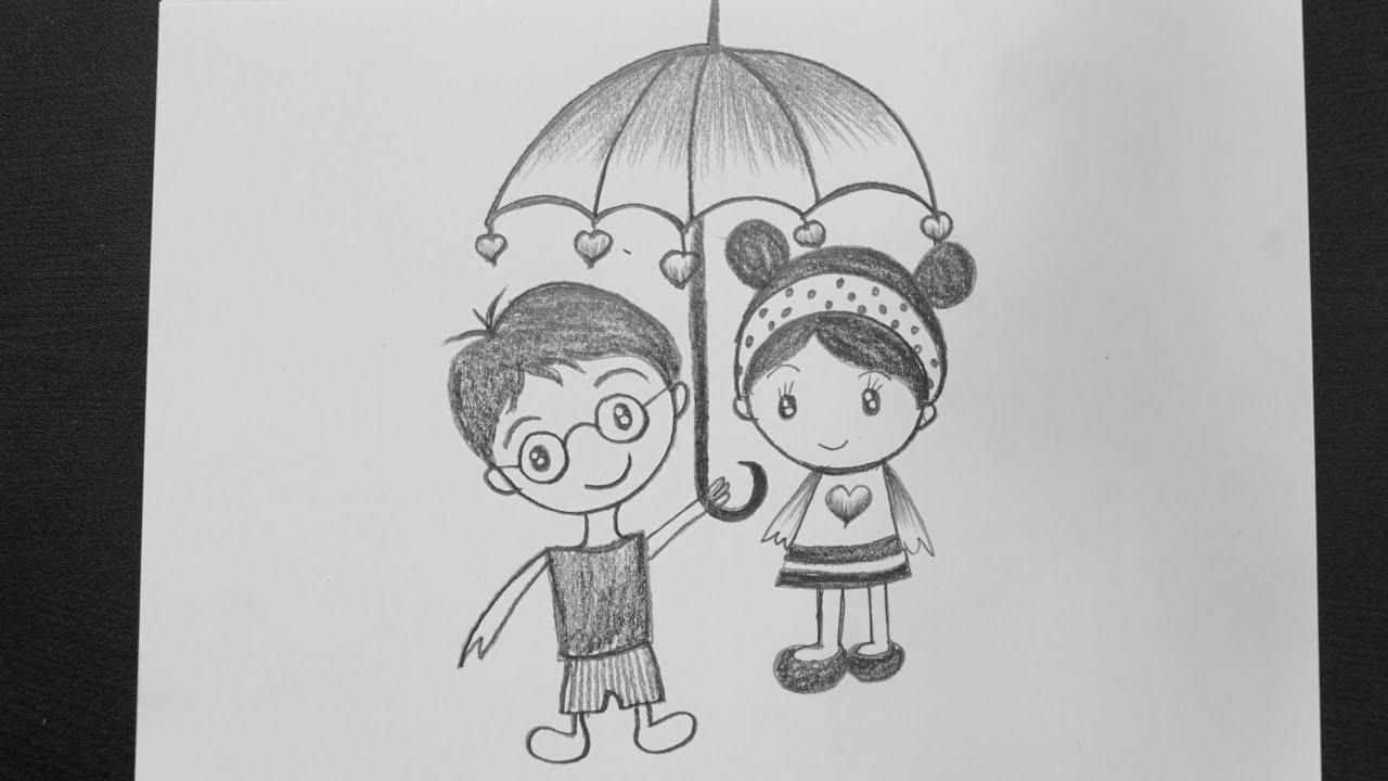 Cute Couple Drawings || How To Draw Love Couple Drawing ...