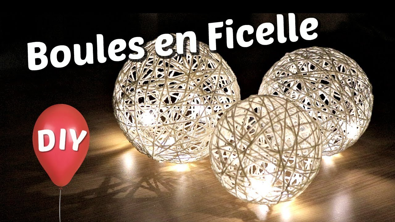 diy comment fabriquer des boules lumineuses d coratives tuto de lampe en ficelle avec un. Black Bedroom Furniture Sets. Home Design Ideas