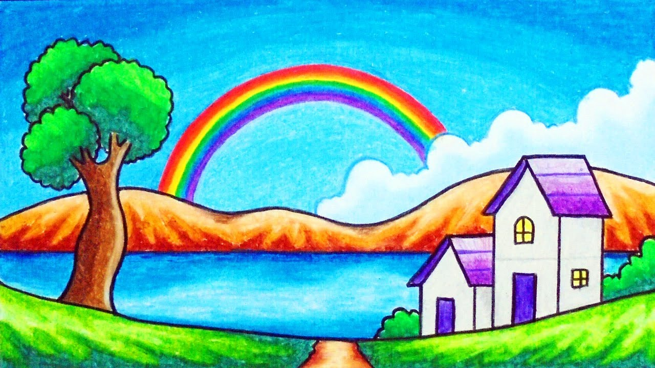 How To Draw Easy Scenery Drawing Rainbow In The Village Scenery