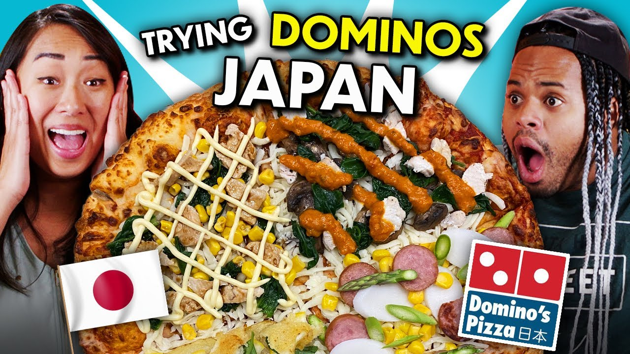 Americans Try Domino's Japan Quattro Pizza! (Fish N Chips, Mochi, & more!)