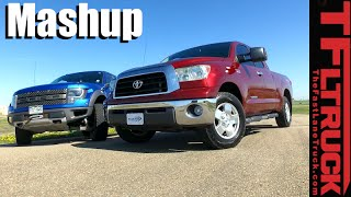 Supercharged Toyota Tundra vs Ford Raptor Drag Race, 0-60 MPH & MPG Mashup Review