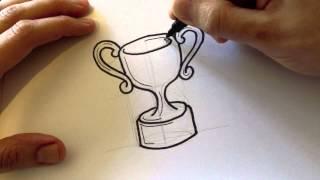Drawing a Cartoon Trophy - Desenhando um Troféu estilo cartoon