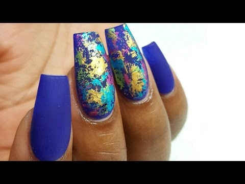 HOW TO: Matte nails with colourful foils and FIRST VOICE OVER!