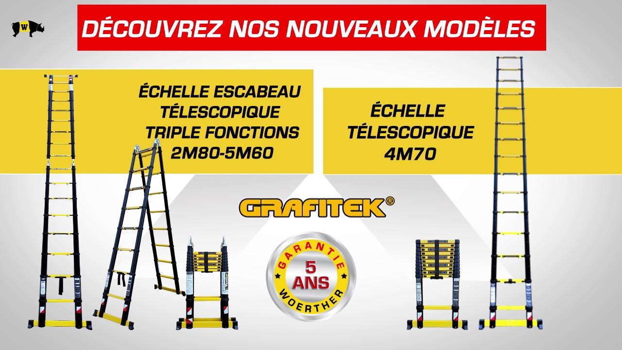Nouveau Escabeau Télescopique Triple Fonctions 5m60 Et échelle Télescopique 4m70 Woerther