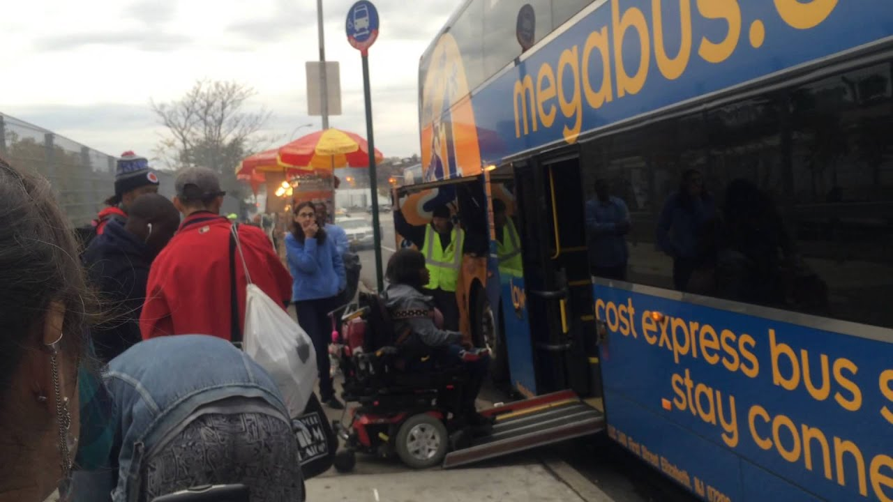 Megabus Boarding Nyc Dc Mobility Chair Ramp Issues Youtube