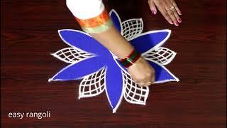 How to Draw a Beautiful color rangoli designs with 5 dots - creative kolam designs - muggulu